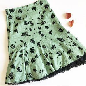 Anthropologie Odille Velvet Burn Out Skirt
